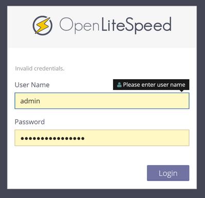 OpenLiteSpeed панель управления веб-сервером WebAdmin