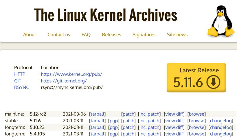 Стабильное ядро Linux. Latest Release. Последний (свежий) выпуск (релиз)